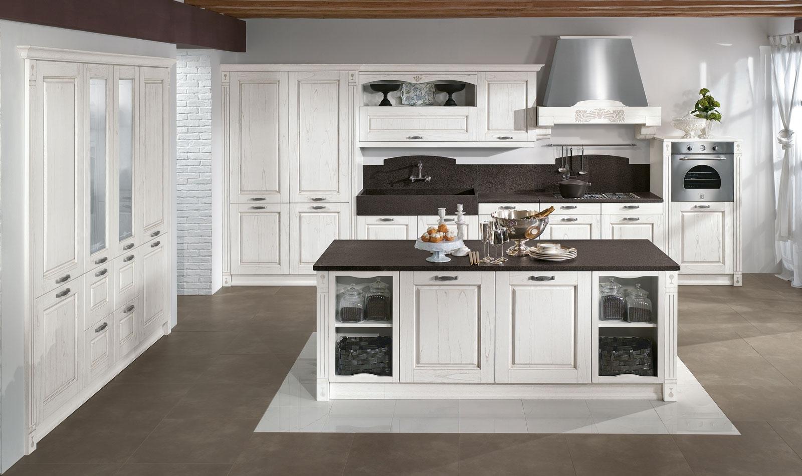 Country decorazione cucina - Cucina bianca e tortora ...
